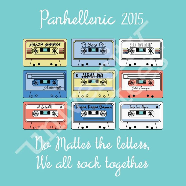 No matter the letters, we all rock together | Panhellenic | Made by University Tees | www.universitytees.com