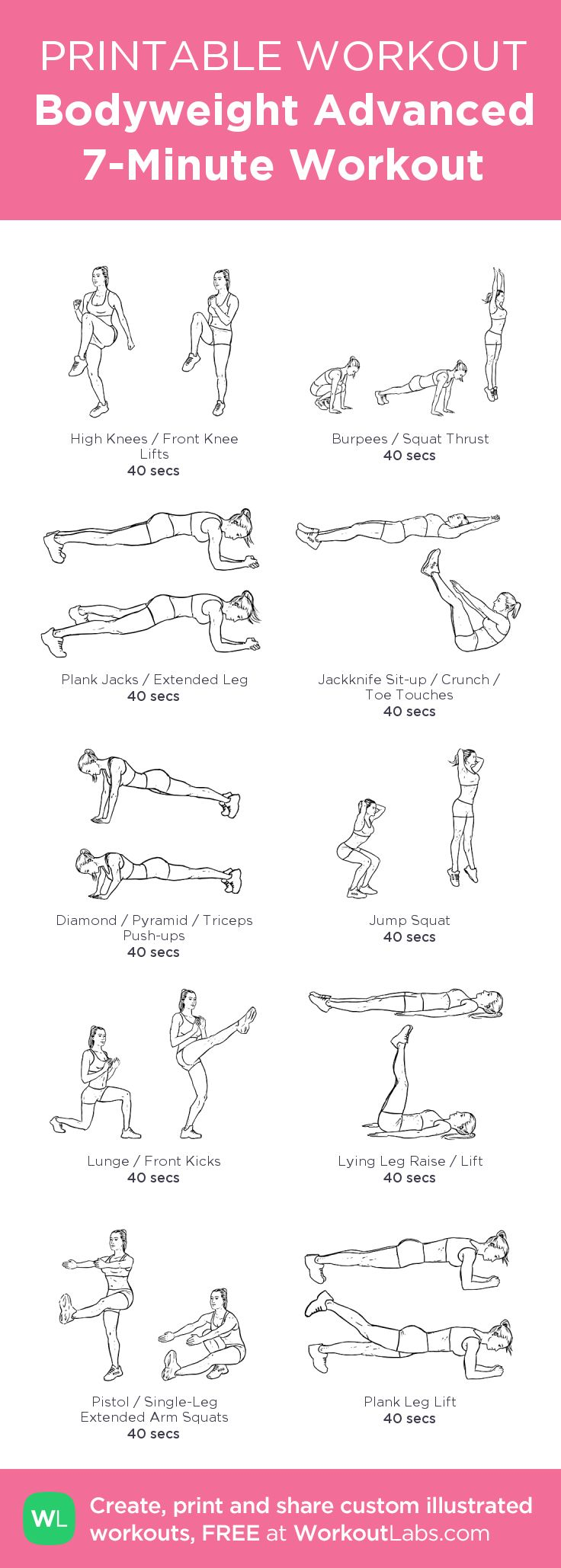 Bodyweight Advanced 7-Minute Workout you can do at home • Click through to customize and download as a FREE PDF! #customworkout