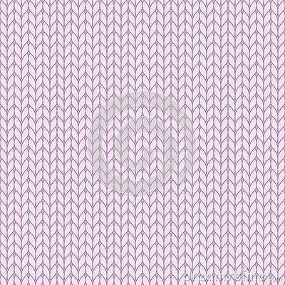 Pink pastel knitted seamless pattern, knit stockinette stitch