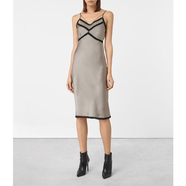 AllSaints Zemery Dress ($268) via Polyvore featuring dresses, khaki green, rayon dress, viscose dresses, green dress, allsaints dress and khaki green dress