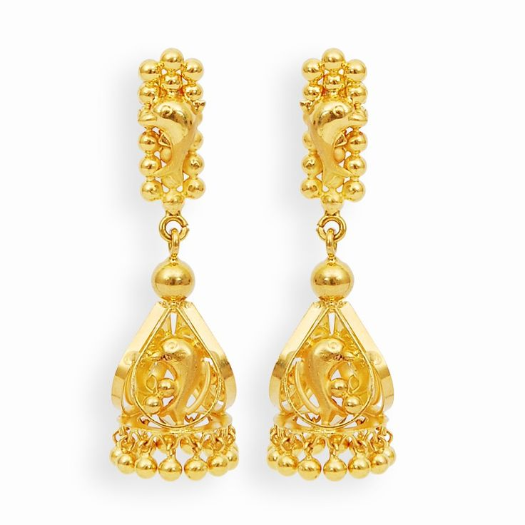 Earrings | Hand Crafted Gold Dolphin Jimikki Set | GRT Jewellers