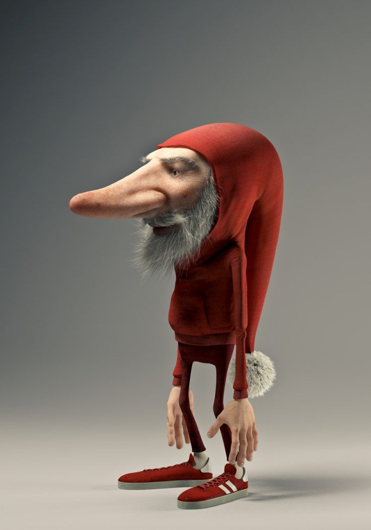 """This is a """"Tomte"""", a Christmas gnome/pixie in English. He is a modern Tomte living in the big city suburb. Software used in creation of image: Maya, ZBrush and Photoshop."""