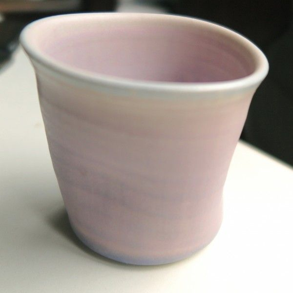 Category: Glaze, Matte, Author: david tsabar, Notes: Not a liner glaze. Frosty lavender where very thick. breaks a soft blue. Not very runny except where very thick. Haven't tried it at cone 6 yet but might work.