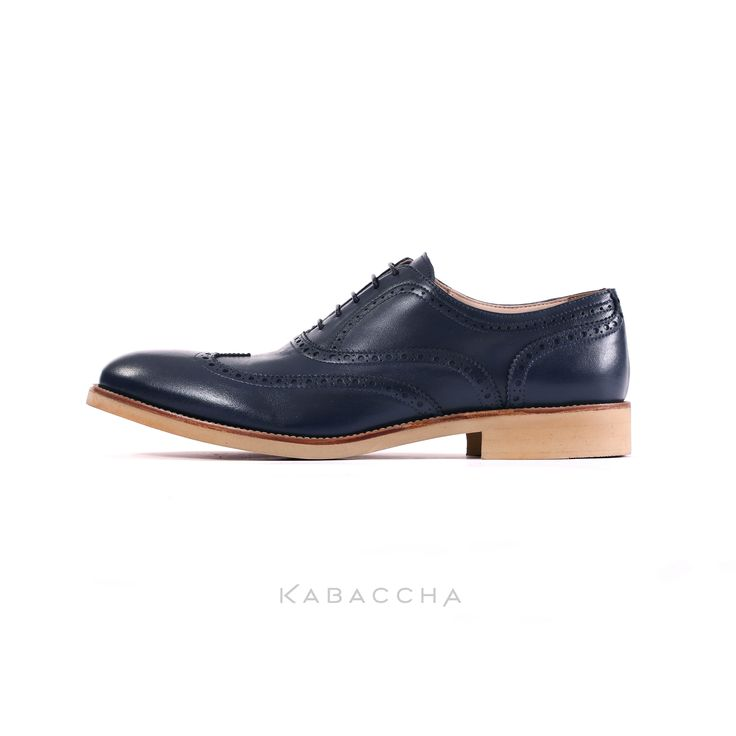 Kabaccha Shoes // Dark Blue Nappa Leather & Beige Sole Wingtip #KabacchaShoes #Wingtips