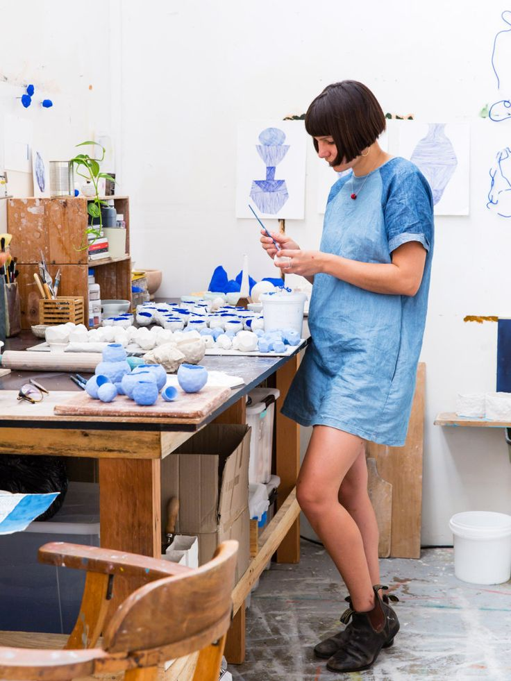Sydney ceramic artist Alex Standen in her Alexandria studio. Photo – Nikki To for The Design Files.