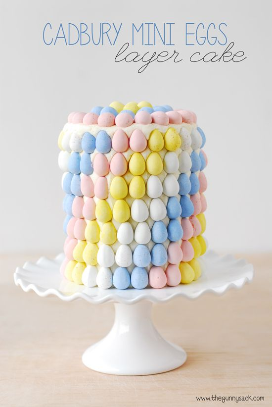 Make a beautiful Easter cake for spring and decorate it with Cadbury Mini Eggs. Frost the cake with the included a buttercream frosting recipe.