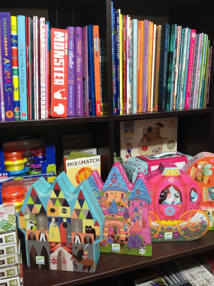Books and puzzles in our toy shop