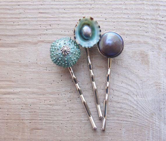Teal Sea Urchin Bobby Hair Pins Sea urchin от StaroftheEast