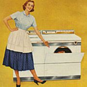 Washing Machines 1950s Usa Housewives Art Print by The Advertising Archives