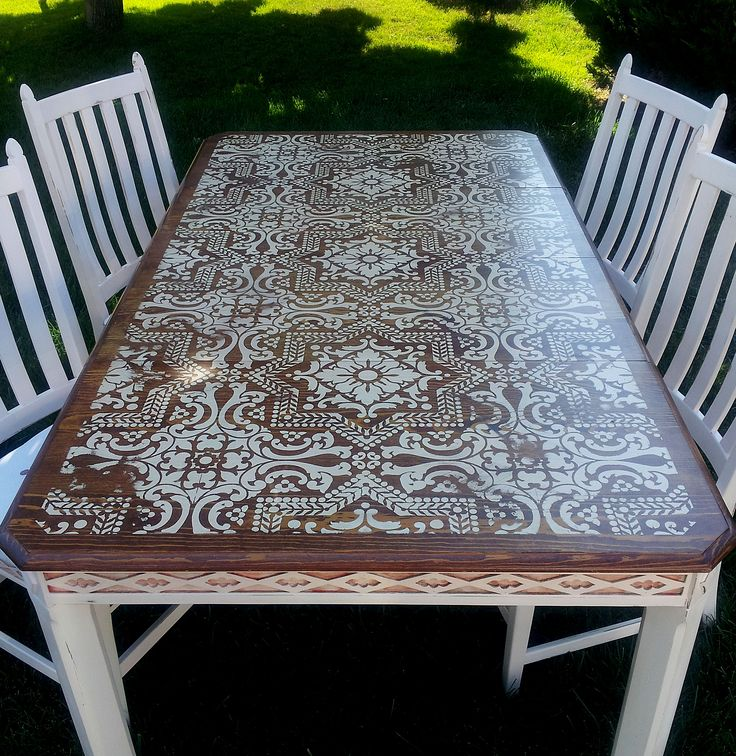 This beautiful vintage dining set is custom chalk painted in palest pink then sanded, lightly distressed and waxed for lasting durability. - Lisboa Tile Stencil
