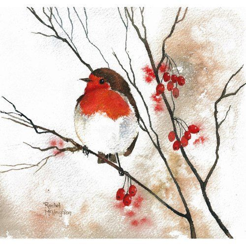 Red Robin, Red Berries by Rachel McNaughton @ Mini Gallery – Watercolour Painting | We Know How To Do It