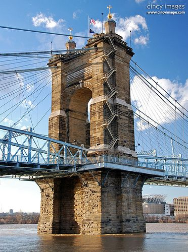 Roebling Bridge. Spans the Ohio River between Cincinnati, Ohio and Covington, Kentucky. Opened: December 1, 1866. Total length: 1,056' (322 m.) Bridge type: Suspension bridge. Architects: John A. Roebling, Washington Roebling. (Some info from Wikipedia.)