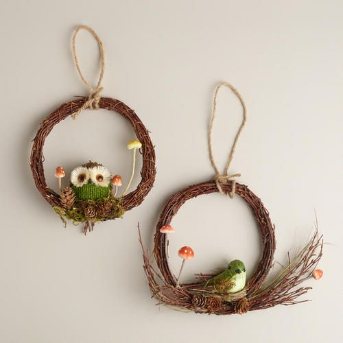 One of my favorite discoveries at WorldMarket.com: Bird and Owl Wreaths, Set of 2