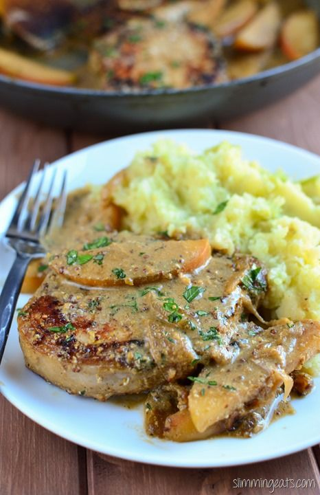 Slimming Eats Pork Loins with Apples and Mustard Sauce  - gluten free, Slimming World and Weight Watchers friendly
