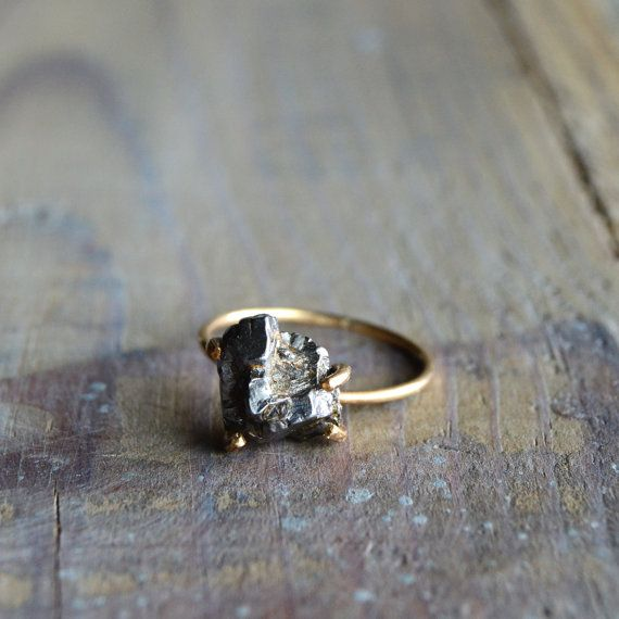Meteorite Ring. Gold Filled Prong Ring. Shooting Star Galaxy Jewelry. Raw Meteorite Gemstone Ring. Mixed Metals on Etsy, $99.00 engagement ring
