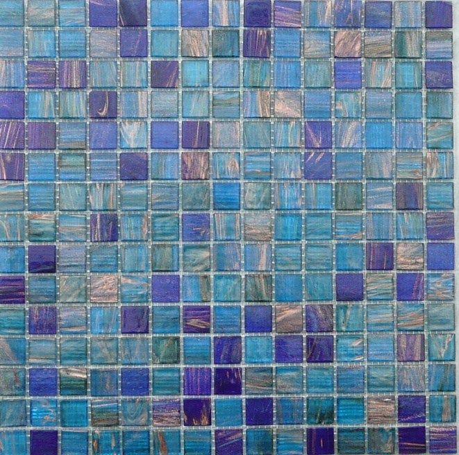Mosaïque discount mélange bleu cyan et cobalt au m²- Mosaïque de pâte de verre mélange, 2 cm