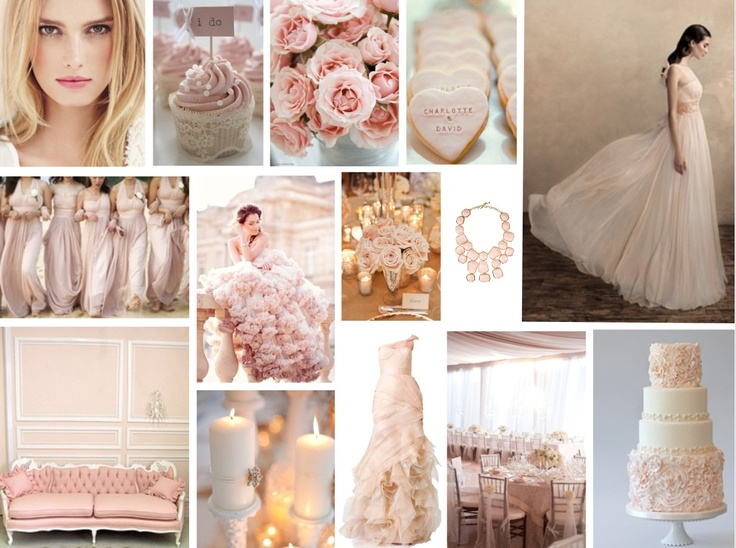 BLUSH WEDDING  We are feeling a blush of romance this week with our nude hue mood board.  These soft shades are classic and ultra-feminine and you can never go wrong with a hint of pink.  www.katherinecourtney.com