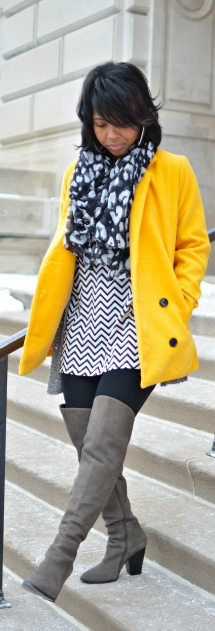 Yellow Coat - Black & White - OTK boots - Winter Outfit Idea - Leopard Scarf