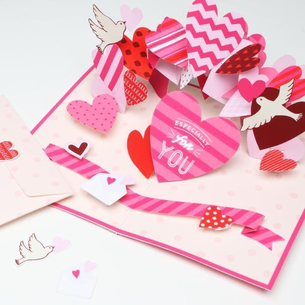 ポップアップカード (バレンタイン 01),クラフトカード,カード,バレンタイン,ポップアップ,ハート,カード