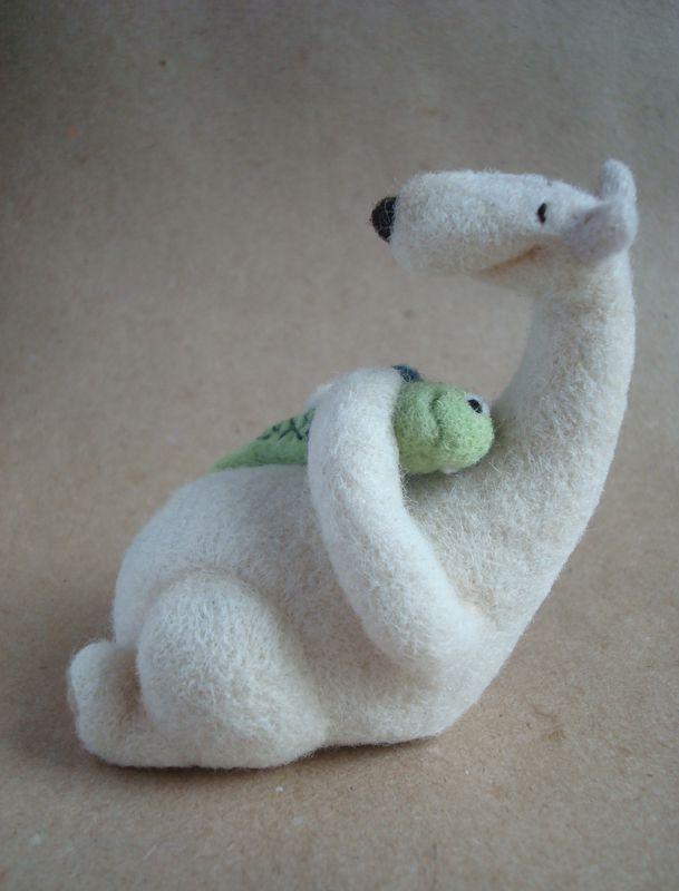 needle felted polar bear & his fishy