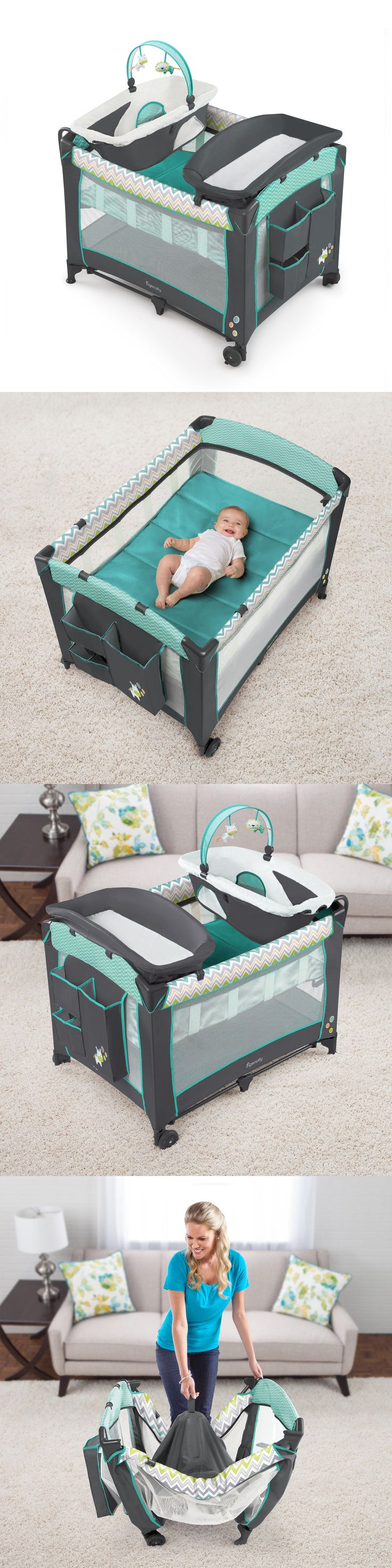 Baby Nursery: Baby Nursery Bassinet Infant Sleeper Crib Newborn Playard Folding Changing Table BUY IT NOW ONLY: $108.99