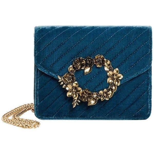 Appliqué Velvet Bag ($67) ❤ liked on Polyvore featuring bags, handbags, blue purse, velvet handbags, floral print handbags, mango handbags and quilted handbags