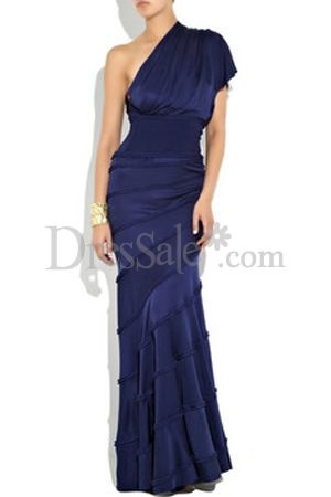 One Shoulder Neckline for Layered Sheath Formal Gowns