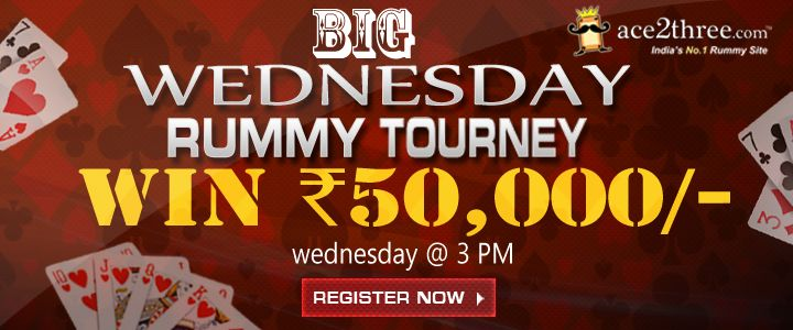 Play BIG Wednesday Rummy Tourney at Ace2Three.com & win cash! Sign up & Play Rummy Online Now >> www.ace2three.com/adTrackerNew.jsp?url=2eec43f0475d87bb24d7c9d073b33255