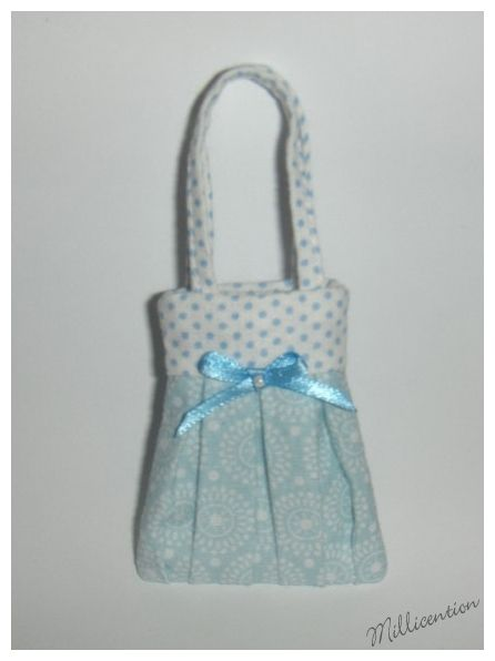 Blue & white polka dot Barbie doll bag