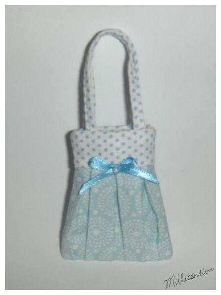 Blue & white polka dot Barbie doll bag
