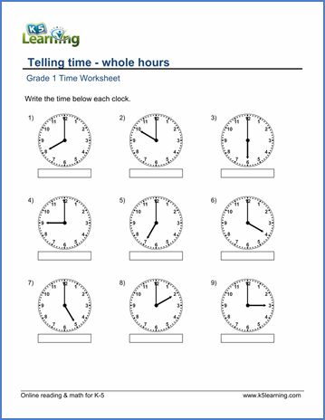 Grade 1 Telling time Worksheet on whole hours | Time ...