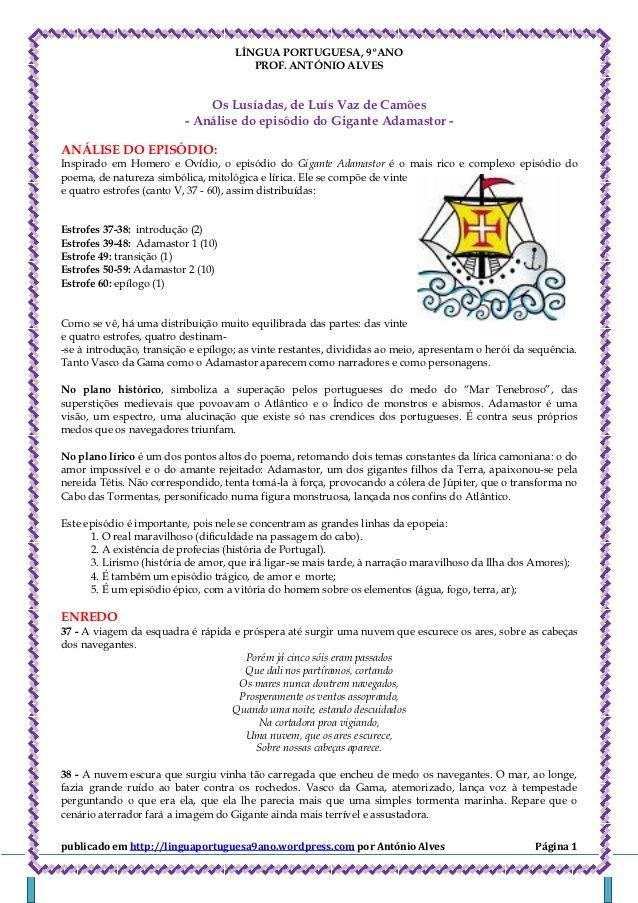 Lingua Portuguesa 9ºano Prof Antonio Alves Os Lusiad Lingua Portuguesa Os Lusiadas Poema