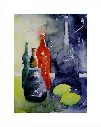 Aquarelle Stillleben, Flaschen und Vase. Stillleben, flasche, Vase, blau, rot, gelb, grün. bild, Kunst, malen, kaufen