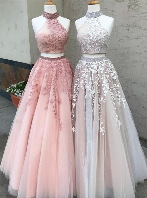 Two Piece High Neck Long Tulle Beaded Lace Appliques Prom Dress Keyhole Back