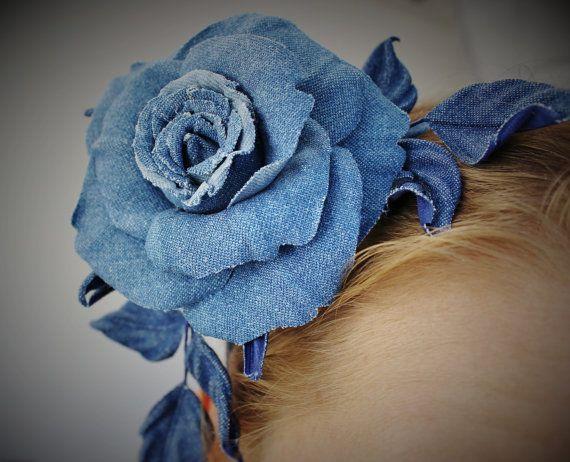 Denim flower hair piece denim fascinator by PresentPerfectStudio