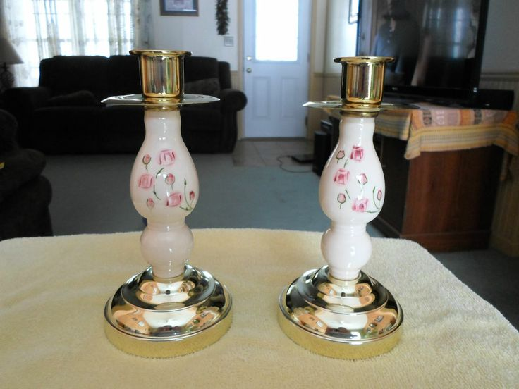 Delightful Candle Holders ~~ Home Interiors~~ Pair Set Pink Flowers