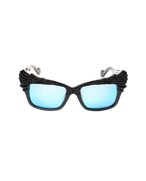 ANNA-KARIN KARLSSON Sunglasses The Escapist shiny black variant shaded light blue lenses acetate material supplied with sunglasses case and box
