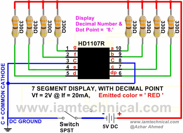 7 Segment HD1107R with Decimal Point Display Decimal Number '8' | IamTechnical.com