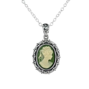 Sterling Silver Picture Frame Resin Cameo Necklace, Green