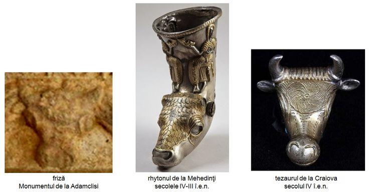 """Reprezentarea taurului, cât mai natural, având plasată o rozetă în frunte - simbol derivat pentru redarea discului solar, este specifică secolelor IV-III î.e.n. Din acea perioadă, la noi în ţară, există reprezentări similare de capete de taur cu rozete spiralate în frunte: rhytonul din argint placat parţial cu aur, descoperit la Mehedinţi, precum şi şase capete de taur din argint placat cu aur, descoperite tot în sudul Olteniei, ca parte a unui tezaur numit """"de la Craiova""""."""