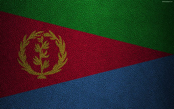Download wallpapers Flag of Eritrea, Africa, 4K, leather texture, Eritrean flag, flags of Africa, Eritrea