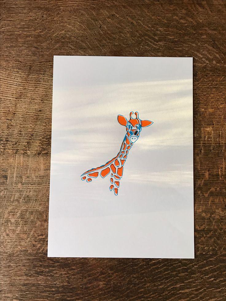 Two colour giraffe screen print of my original illustration