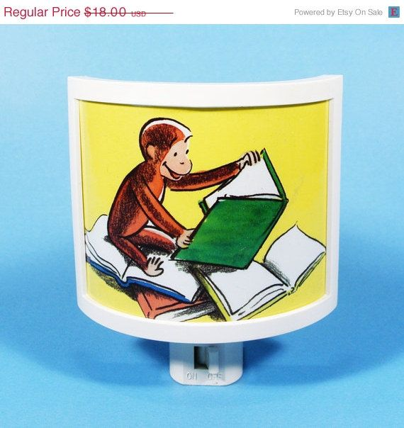 Curious George Reading a Book vintage kids book Night Light cute bedroom  TAKE IT with. 17 best ideas about Curious George Bedroom on Pinterest   Curious