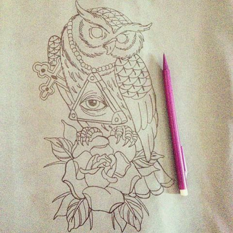 #tattoo #design #drawing #template #complete #art #artwork #pencil #pencilart #ink #inked #guyswithtattoos #girlswithtattoos #vintage #vintageink #vintagetattoo #owl #illuminati #eye #rose #cross #old #originalink #hipster #trend #time #wise #knowledge #conspiracy #instaink
