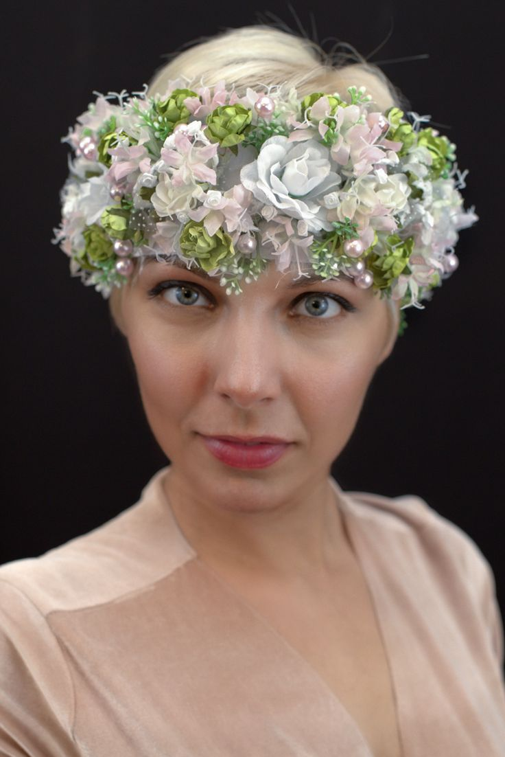 Slavic floral headpiece for rustic wedding.