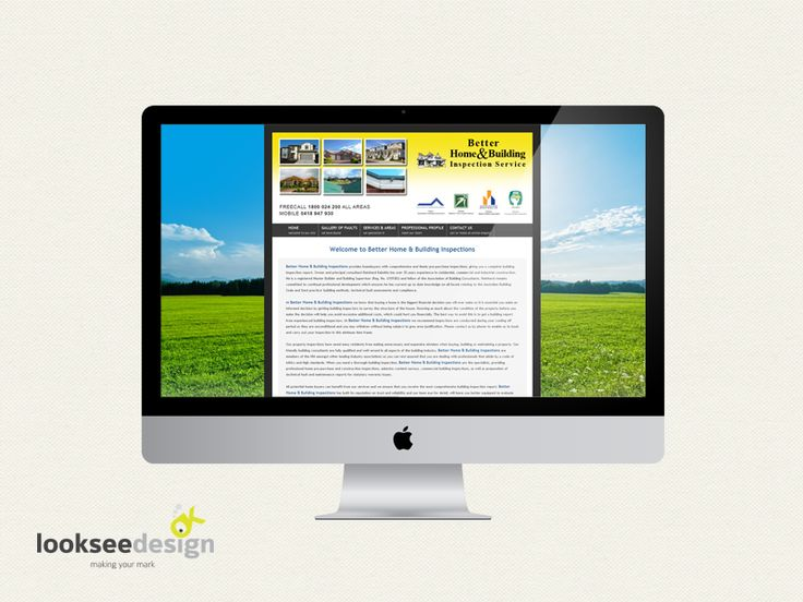 Better Home and Building Inspection Service - website designed by Looksee Design