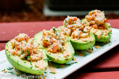 Crab Meat & Shrimp Stuffed Avocados - Ingredients 3 medium avocados, halved, pit and skin removed 4 oz crab meat 5 large shrimp, boiled, chilled and then chopped into small chunks 1 tbsp red bell pepper, small dice 1 tbsp red onion, sm...