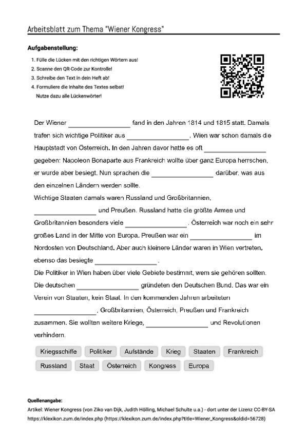 """Arbeitsblatt mit Lückentext zum Thema """"Wiener Kongress"""""""