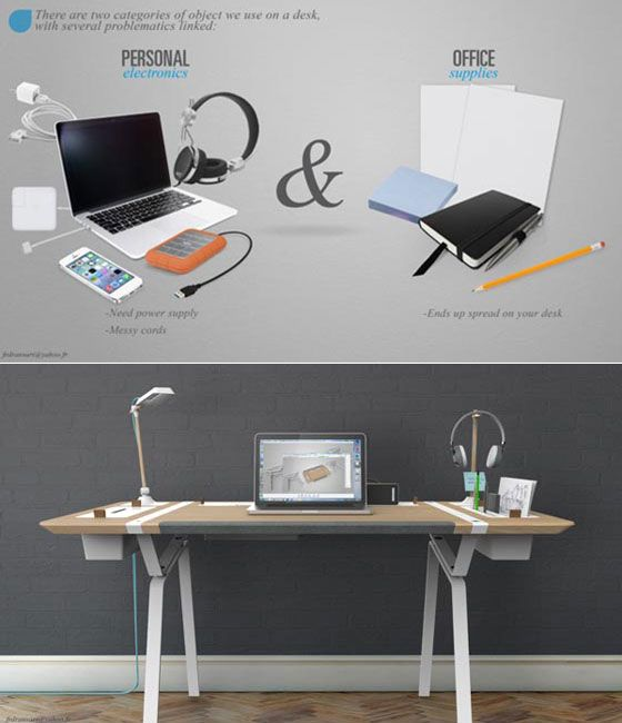 The Concept Desk Designed By Francois Dransart Aims To De Clutter The Mess  By Providing Awesome Ideas