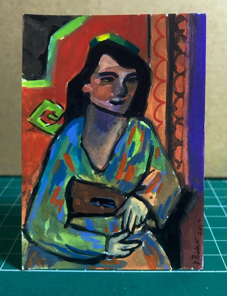 """""""Algerian Girl"""" (after Matisse). Gouache on paper, 2.5x3.5"""". #atc #gouache"""